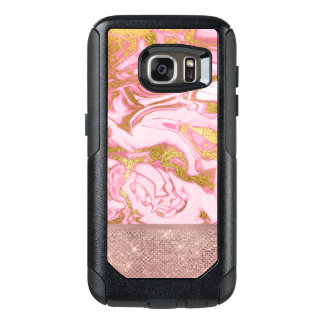 Pink Gold Gold Glitter and Sparkle Marble OtterBox Samsung Galaxy S7 Case
