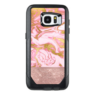 Pink Gold Gold Glitter and Sparkle Marble OtterBox Samsung Galaxy S7 Edge Case