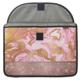 Pink Gold Gold Glitter and Sparkle Marble Sleeve For MacBooks