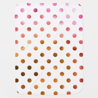 Pink Gold Holographic Metallic Faux Foil Polka Dot Baby Blanket
