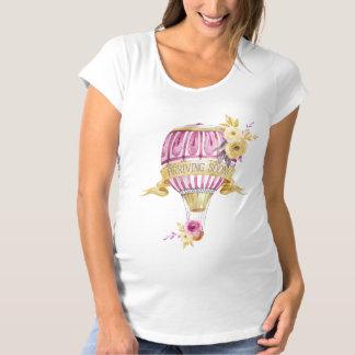 """Pink+Gold Hot Air Balloon"" Maternity T-Shirt"