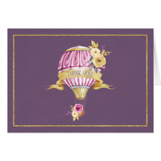 "Pink+Gold Hot Air Balloon ""Thank You"" Card"