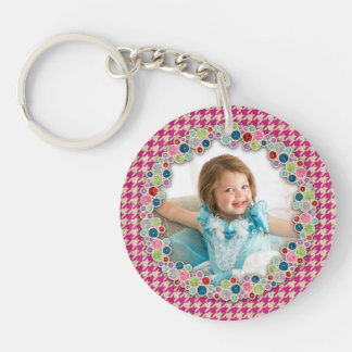 Pink Gold Houndstooth Personalized Photo Double-Sided Round Acrylic Key Ring