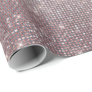 Pink Gold Ivory Gray Sparkly Stripes Metallic Wrapping Paper