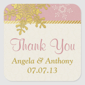 Pink Gold Ivory Snowflake Winter Wedding Stickers