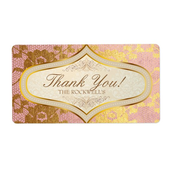Pink Gold Lace Cream Wedding Label Thank You Shipping Label