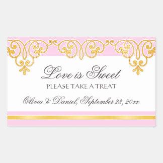 Pink gold lace damask border candy buffet wedding rectangular sticker