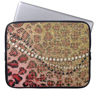 Pink Gold Leopard Animal Print Glitter Look Jewel Computer Sleeves