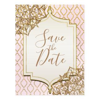 Pink Gold Moroccan Arabian Nights Save the Date Postcard