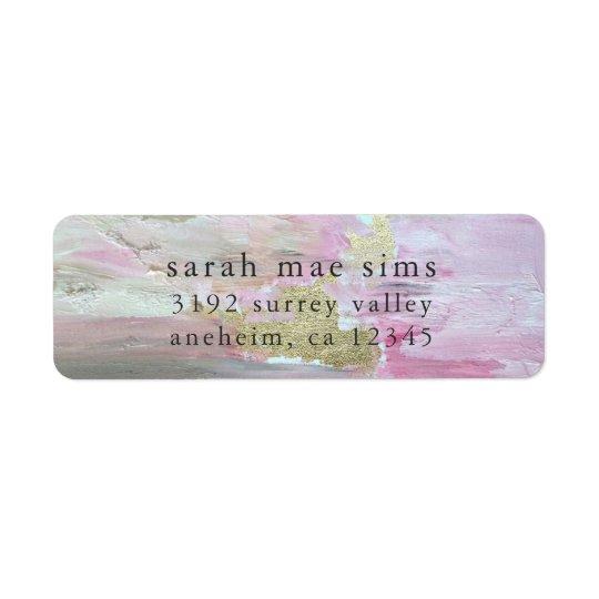Pink Gold Paint Modern Return Address Labels