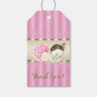 Pink Gold Pearl Baby Girl Shower Gift Tags