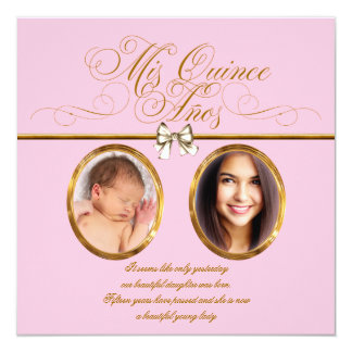 Pink Gold Photo Quinceanera Invitations