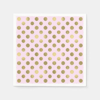Pink Gold Polka Dot Birthday Party Disposable Napkins