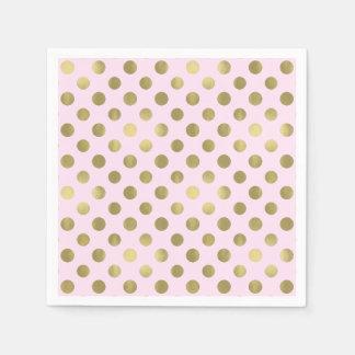 Pink Gold Polka Dot Birthday Party Disposable Napkins