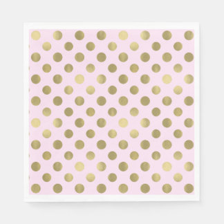 Pink Gold Polka Dot Birthday Party Disposable Serviettes