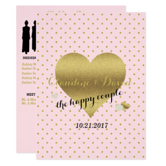 Pink & Gold Polka Dot Elegant Wedding Program Card
