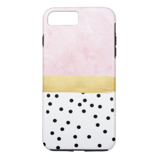 Pink, gold, polka dots - iPhone Case
