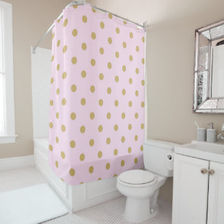 Pink & Gold Polka Dots Modern Trendy Girly Pattern Shower Curtain