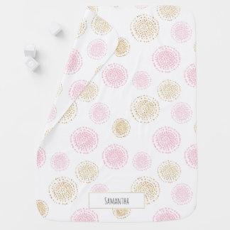 Pink & Gold Polka Dots Monogram Baby Blanket