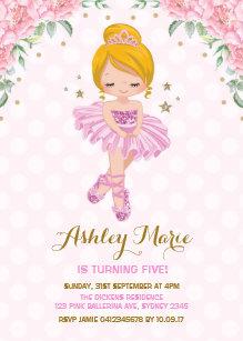 Princess birthday invitations zazzle pink gold princess ballerina tutu birthday invite filmwisefo
