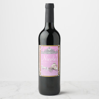 Pink Gold Princess Crown Carriage Fairy Tale Wine Wine Label