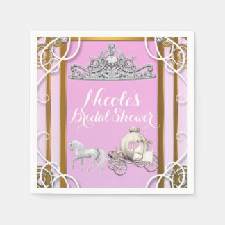 Pink Gold Princess Crown & Carriage Sweet 16 Party Paper Serviettes
