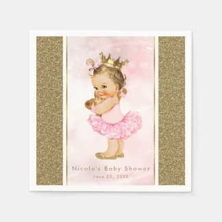 Pink Gold Princess Vintage Baby Girl Shower Party Paper Napkin