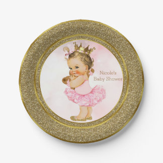 Pink Gold Princess Vintage Baby Girl Shower Party Paper Plate