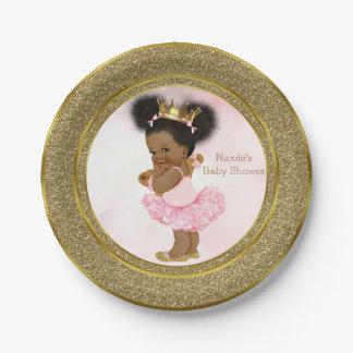 Pink Gold Princess Vintage Black Baby Girl Shower Paper Plate