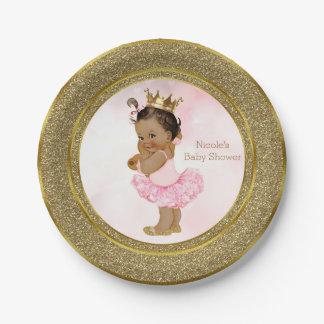 Pink Gold Princess Vintage Tan Baby Girl Shower Paper Plate