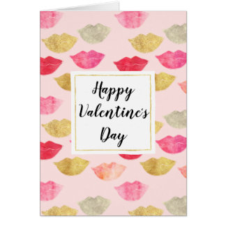 Pink Gold Red Watercolor Lips Valentine's Day Card