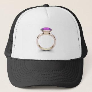 Pink gold ring trucker hat