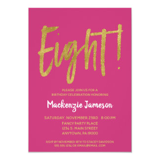 Pink Gold Script 8th Birthday Party Invitation