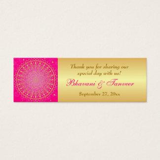 Pink, Gold Scrolls, Stars Wedding Favor Tag Mini Business Card