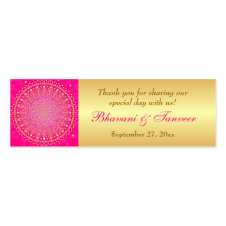 Pink, Gold Scrolls, Stars Wedding Favor Tag Pack Of Skinny Business Cards