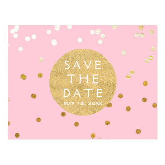 Pink & Gold Shiny Confetti Dots Save The Date Postcard