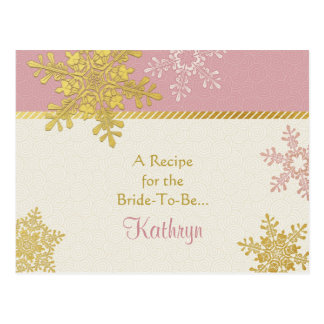 Pink Gold Snowflake Recipe Card for the Bride