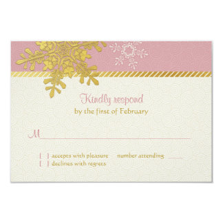Pink Gold Snowflake Winter Wedding Reply Card 9 Cm X 13 Cm Invitation Card