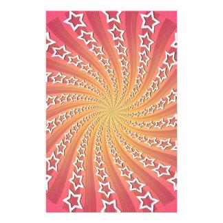 Pink Gold Star Spiral Stationery Design