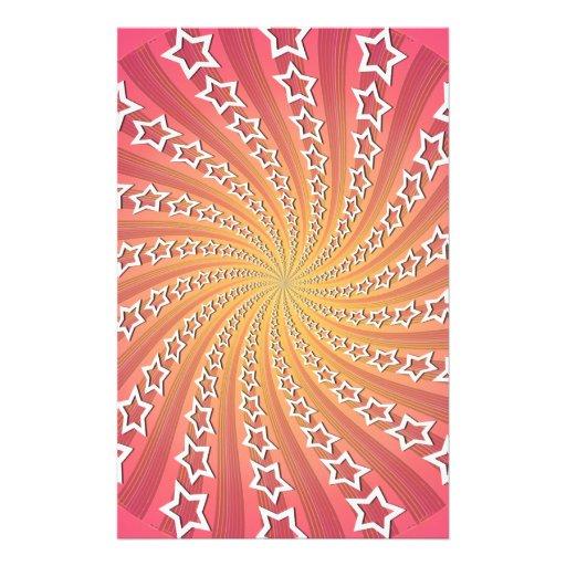 Pink & Gold Star Spiral: Stationery Design