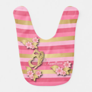 Pink & Gold Stripes with Flowers & Butterfly Baby Bib