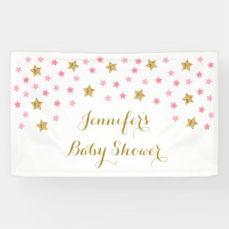 Pink & Gold Twinkle Star Baby Shower Banner