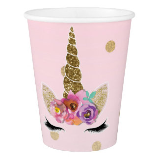 Pink & Gold Unicorn Floral Horn Birthday Party Paper Cup