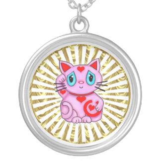 Pink Gold Wheel Maneki Neko Lucky Beckoning Cat Silver Plated Necklace
