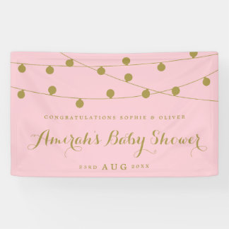 Pink & Gold Whimsical Fairy Lights Baby Shower Banner