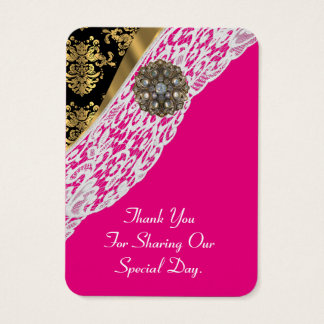 pink gold white lace wedding favor thank you tag business card