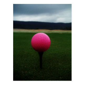 Pink Golf Ball on a mountain golf course Postcard