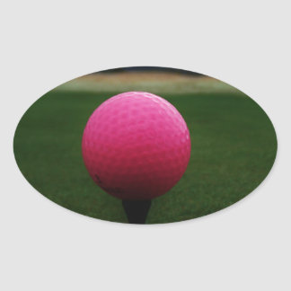 Pink Golf Ball on a mountain golf course Oval Stickers