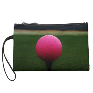 Pink Golf Ball on a mountain golf course Wristlet