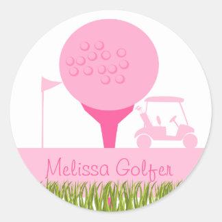 Pink Golf Date Round Sticker